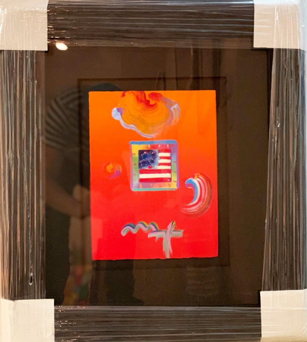 "PETER MAX, ""FLAG"", ORIGINAL MIXED MEDIA FRAMED"
