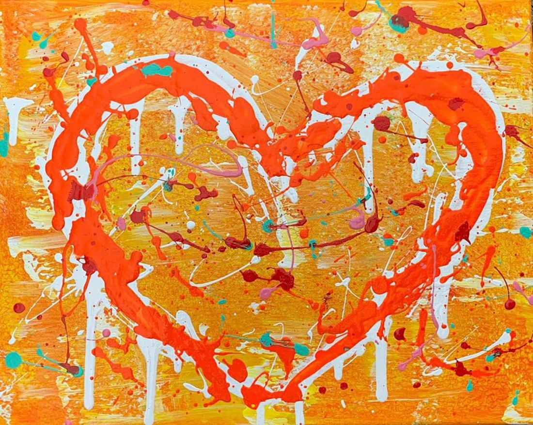 Jozza, Heart orange yellow, Original Acrylic on canvas