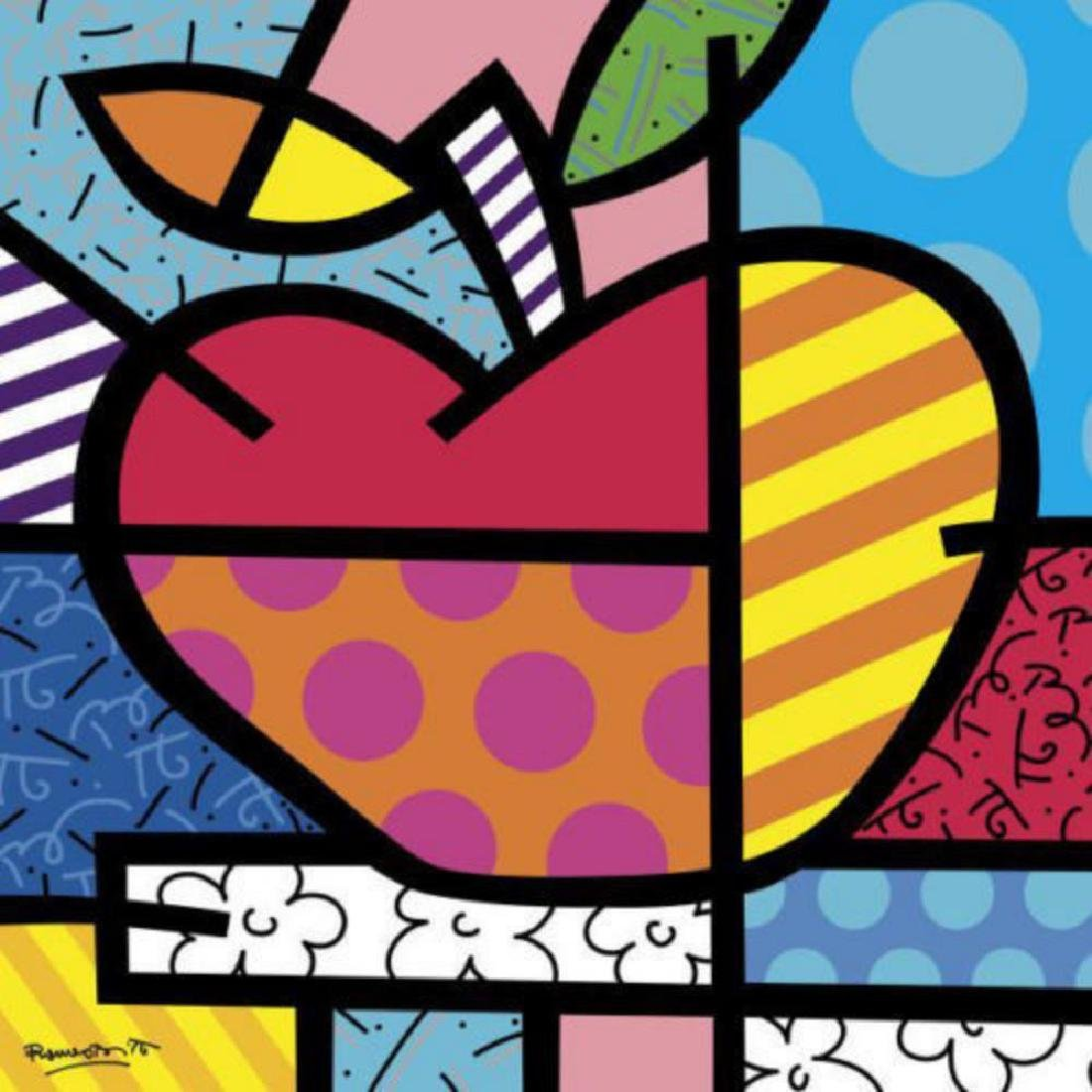 The Apple by Romero Britto Offset lithograph framed