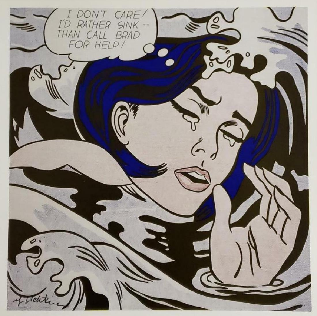 Roy Lichtenstein - Drowning Girl, 1963, Hand signed lit