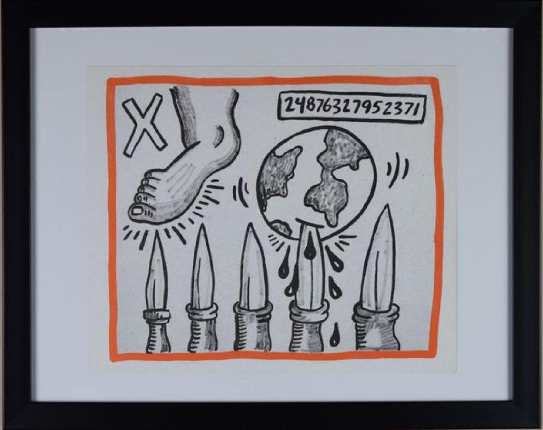 "Keith Haring ""Against All Odds"" Framed Lithograph 1990"