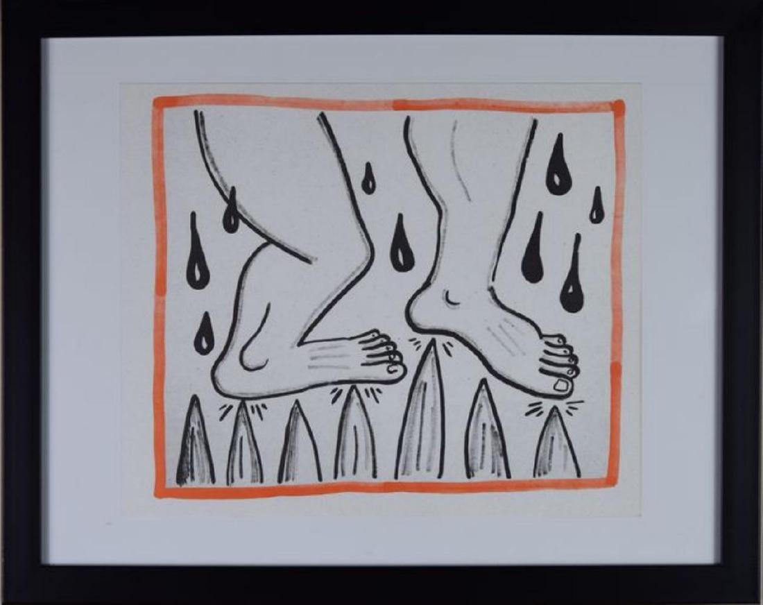 """Keith Haring """"Against All Odds"""" Framed Lithograph 1990"""