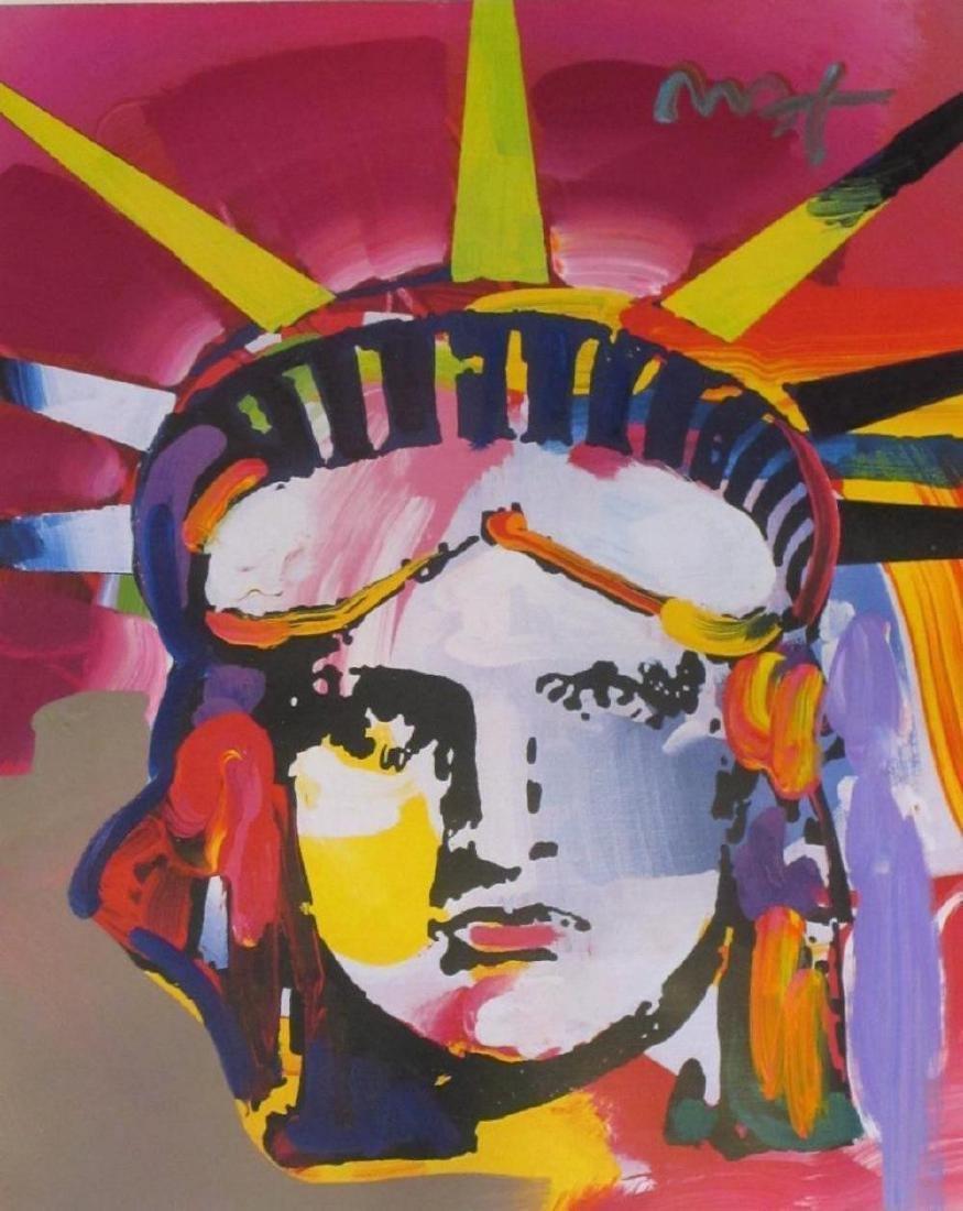 """Peter Max """"Liberty Head"""" Original Mixed Media 30 x 24"""