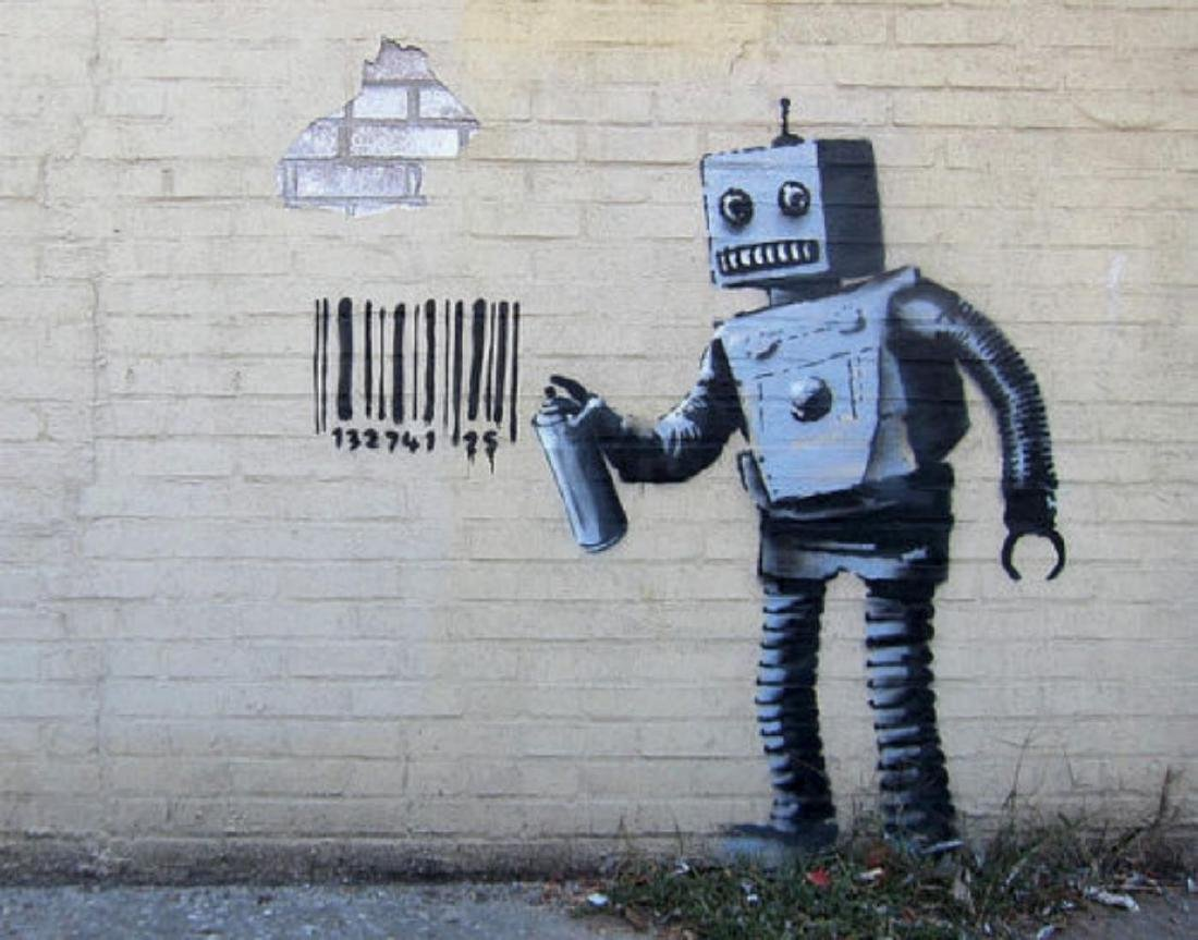 Robot by Banksy offset lithograph framed