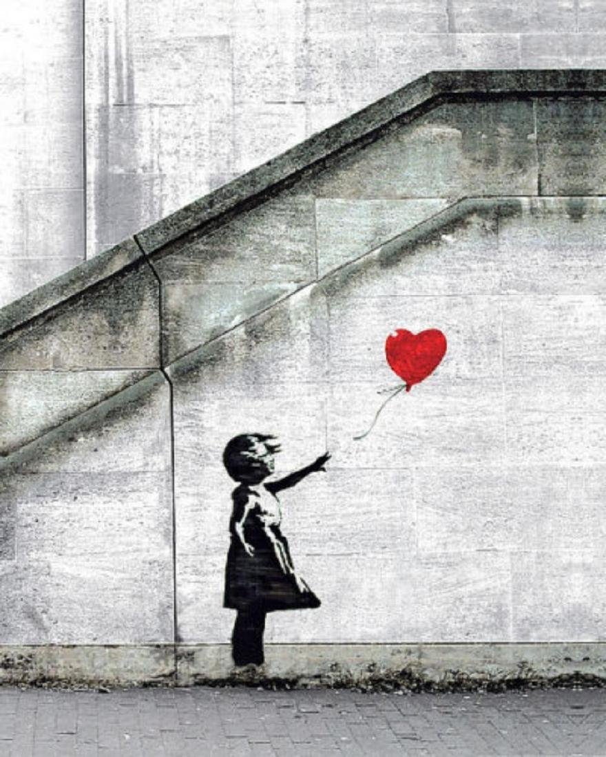 Red Balloons by Banksy offset lithograph framed