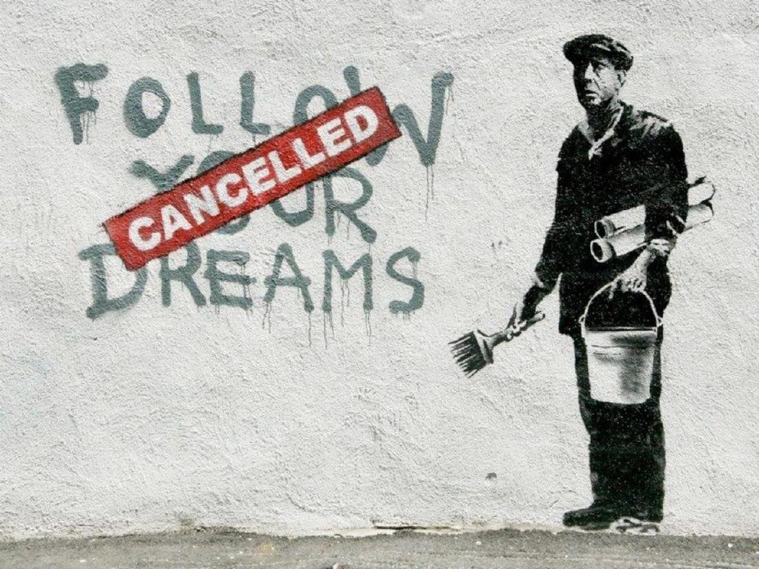 Banksy Follow Your Dreams offset lithograph framed