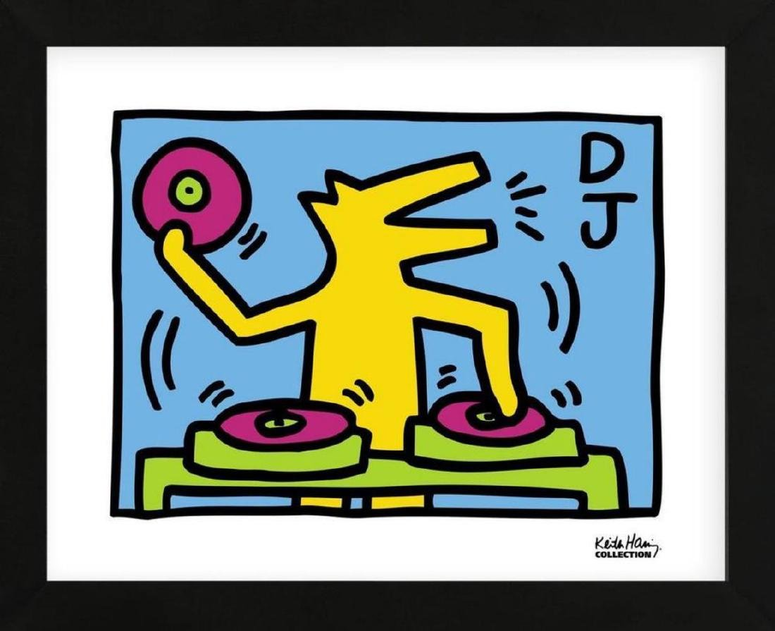 Keith Haring, D.J. Dog offset lithograph framed
