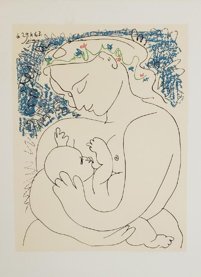 """Picasso Pablo """"Maternity"""" 1963 lithograph Hand Signed"""