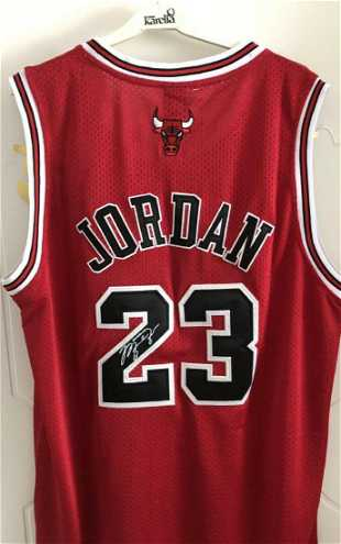 182b6f4259a4a7 Michael Jordan Autographed Jersey- Chicago Bulls  23