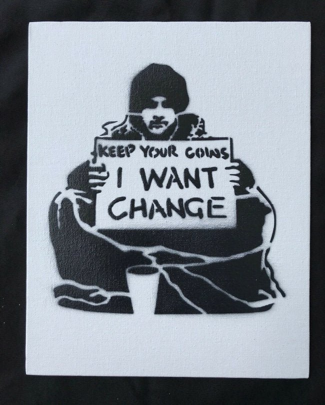 "Banksy Dismaland ""I want change"" spray paint on canvas"