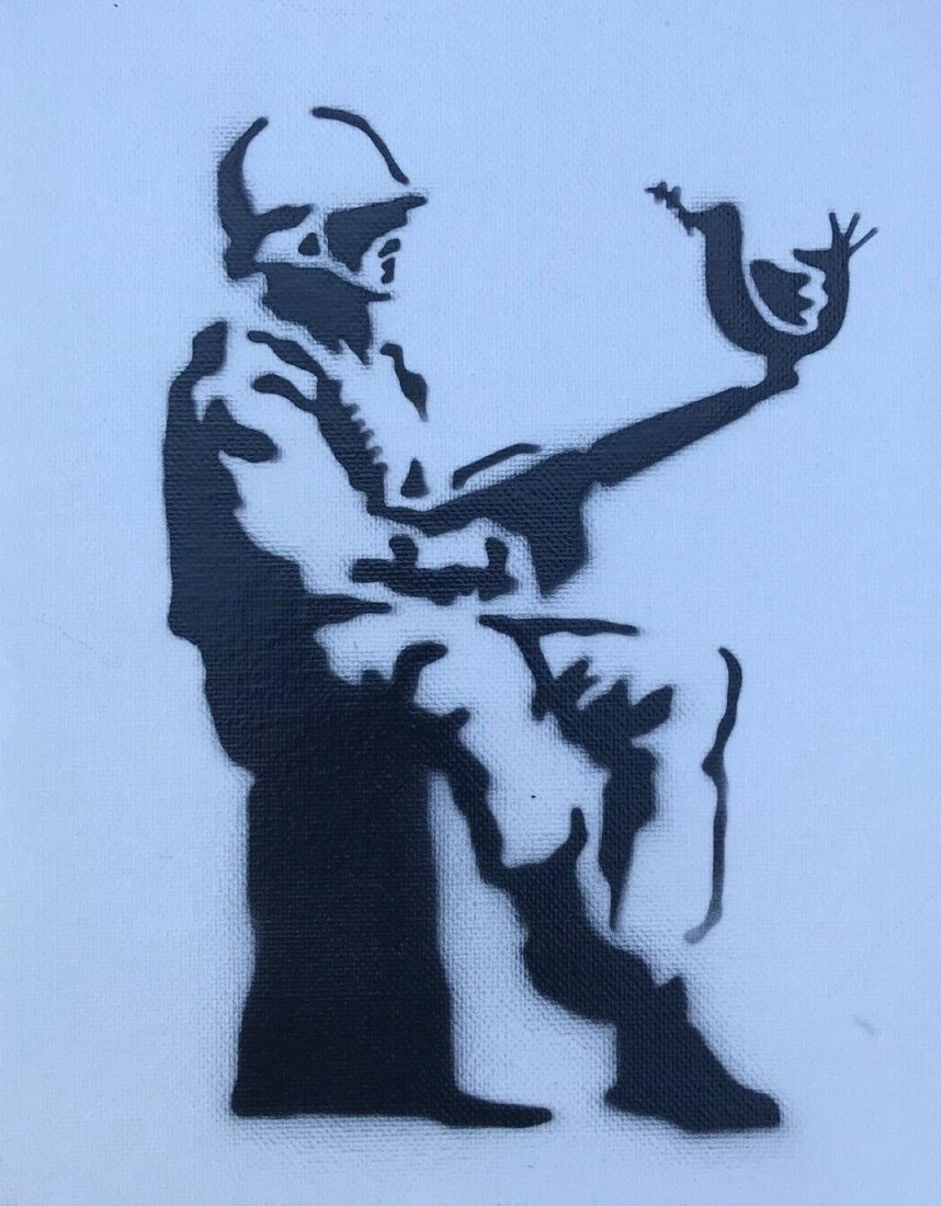 """Banksy Dismaland """"Soldier of Peace"""" spray paint on"""