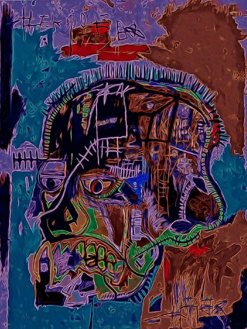 Jean Michel Basquiat, offset lithograph print Framed