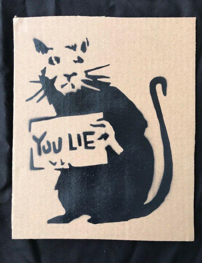 "Banksy Dismaland ""You Lie"" spray paint on"