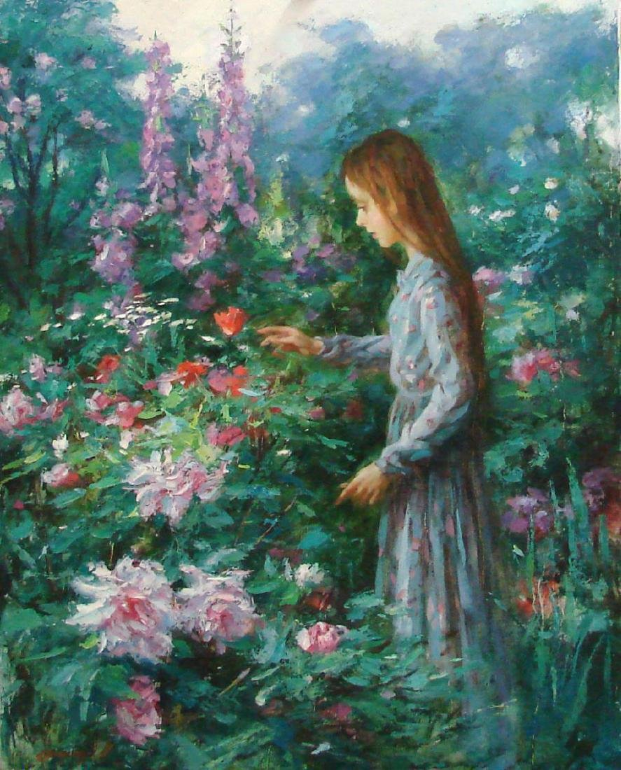 """Cao Yong, """"Flower Girl"""", Original Oil on Canvas, Hand"""