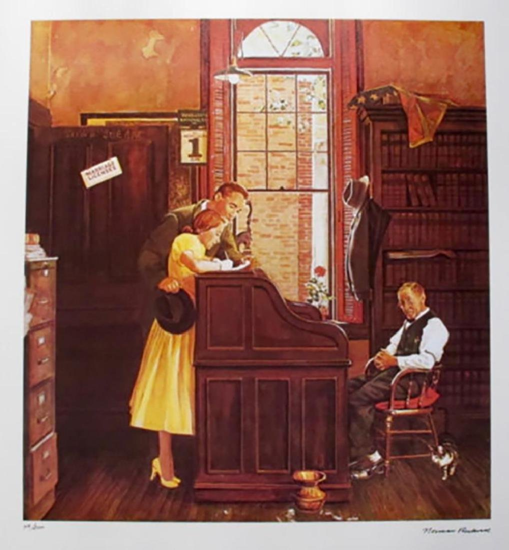 "Norman Rockwell Faxs. Signed L/E Lithograph ""MARRIAGE"