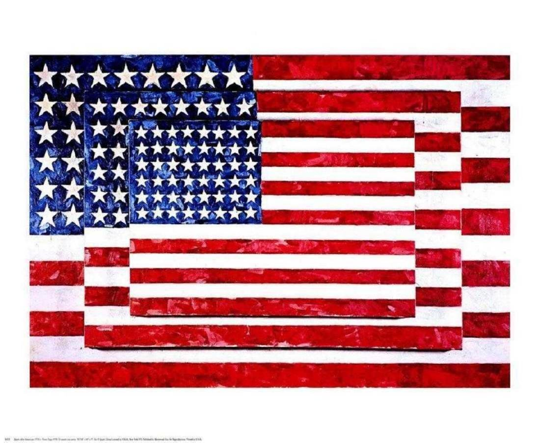 Three Flags by Jasper Johns offset lithograph framed