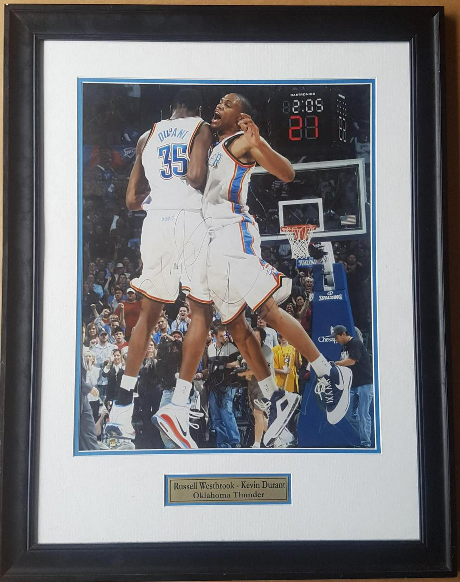 Russell Westbrook, Kevin Durant Autographed 8x10 framed