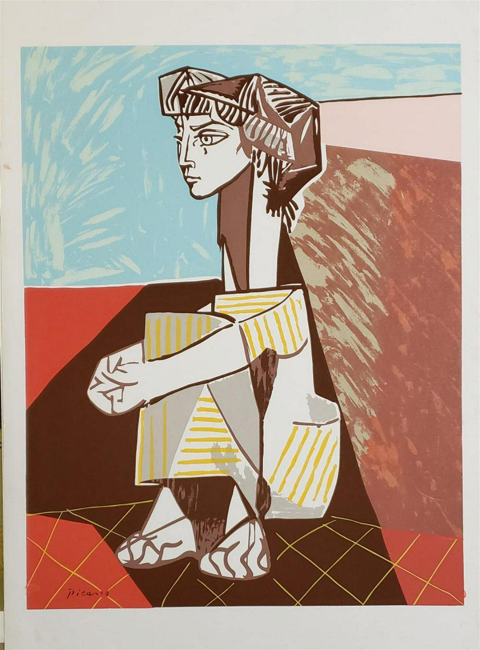 Pablo Picasso portrait of jacqueline roque with her