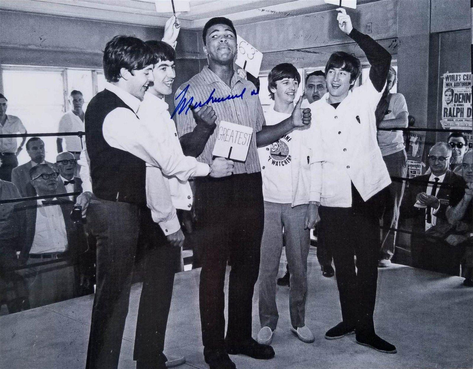 "MUHAMMAD ALI 8"" x 10"" Autographed Photo w/The Beatles"