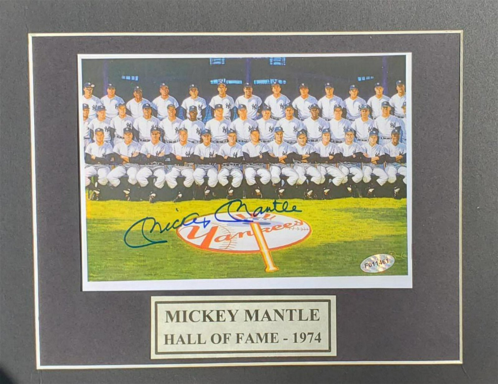 Mickey Mantle. Autographed 8x10 photo