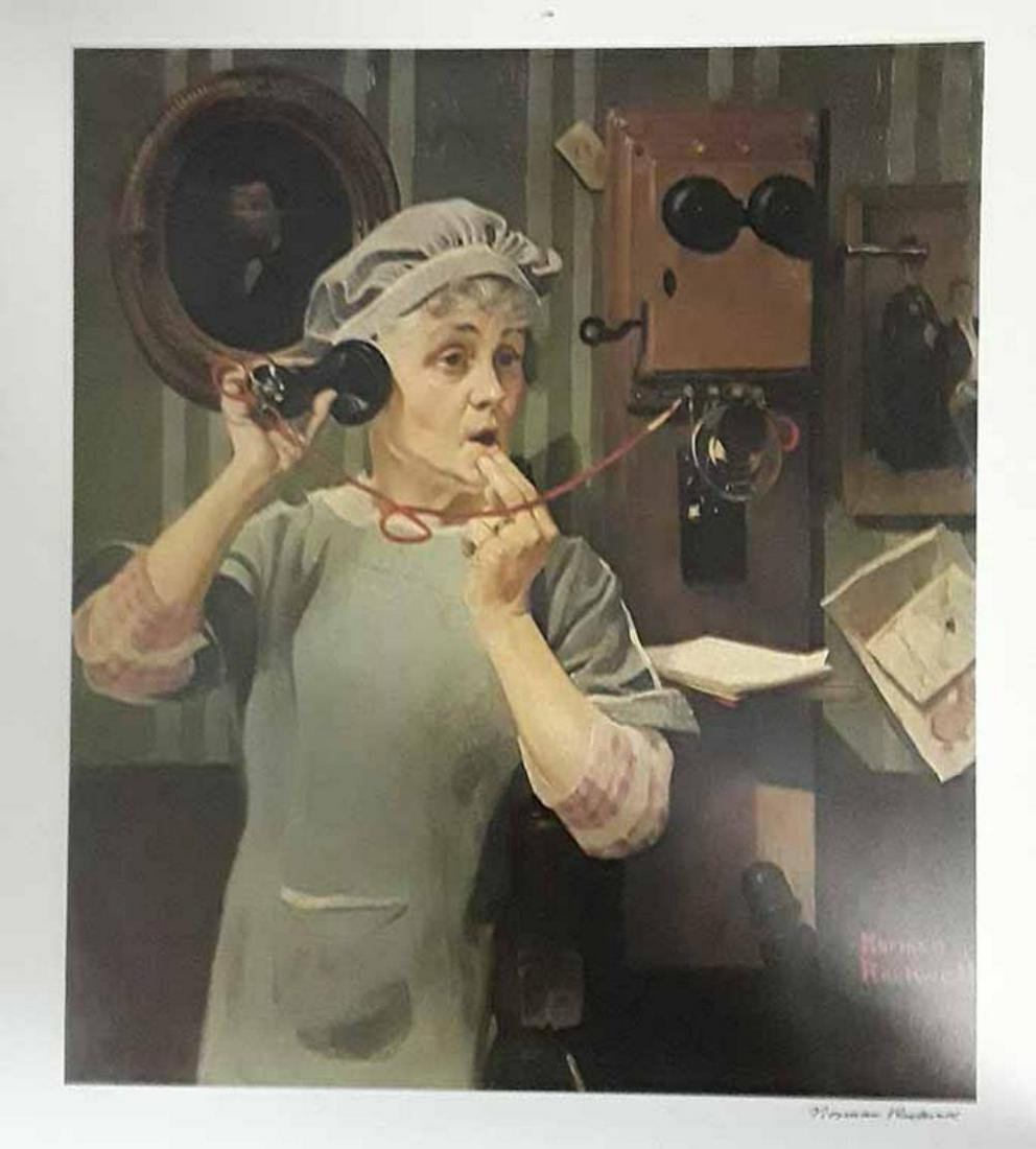 """Norman Rockwell """"Party Line"""" L/E Lithograph signed"""