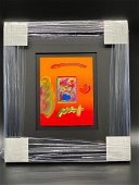 Peter Max Vase with Flowers Framed Original Mixed Media