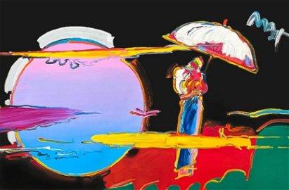 Peter Max Umbrella Man New Moon Orginal Mix Media 36x24