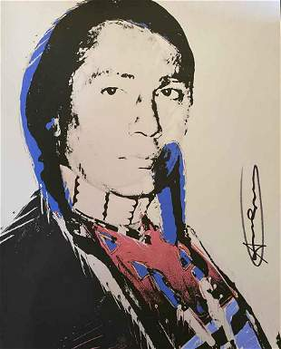 Andy Warhol Indian Hand Signed Grey Lithograph American