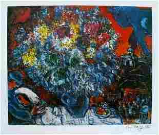 Marc Chagall Bouquet de Fleur Et Amants FacsimileSig LE