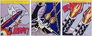 Roy Lichtenstein As I Opened Fire Triptych Hand Signed
