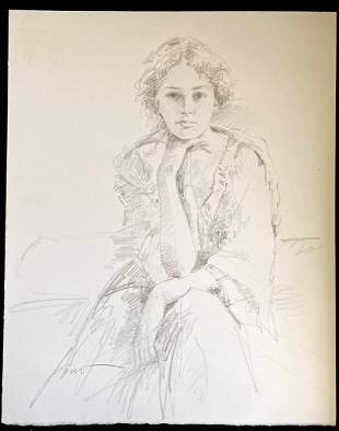 Pino Untitled Woman Sitting Pencil Drawing Original
