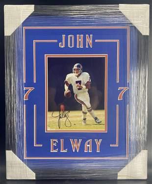 John Elway Framed Matted 10x8 Autograph COA