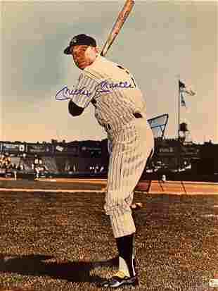 Homer Mickey Mantle 16x20 Autographed Photo with COA