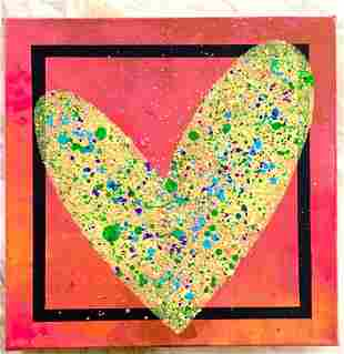 Paulina Del Mar Yellow Heart Mixed Media on Canvas