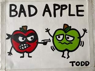 Todd Goldman Bad Apple Original Canvas Acrylic