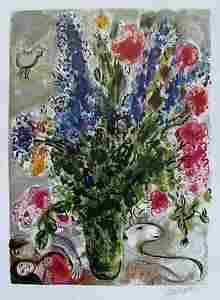 Marc Chagall Le Lupins Bleu Facsimile Signed Limited Ed