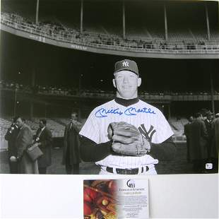 The Mick Mickey Mantle 16x20 Autographed Photo with COA