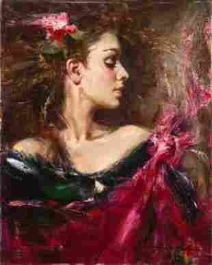 Andrew Atroshenko A MOMENT IN TIME Embellished Canvas