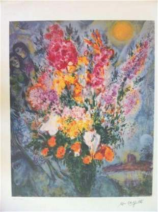 Marc Chagall Blue Bouquet Facsimile Signed Limited Ed