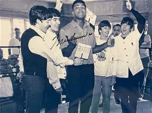Autographed Muhammad Ali & The Beattles Greatest Photo