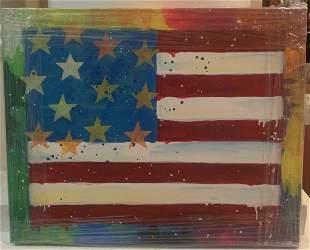 Paulina Del Mar America Flag Yellow Mixed Media