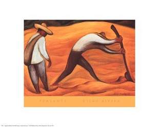 Diego Rivera Peasants FRAMED Offset Lithograph