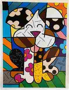 Romero Britto Andy (Dog) Embelished Glitter Canvas LE