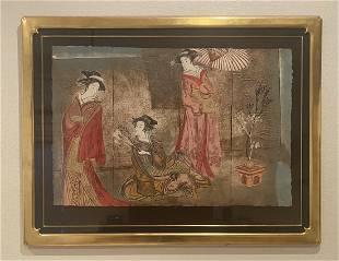 Mikulas Kravjansky Mikado Framed Intaglio Triptych HS