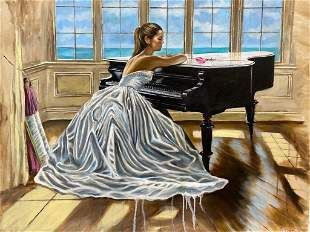 Harry McCormick - Laura in Piano Room Oil on Canvas