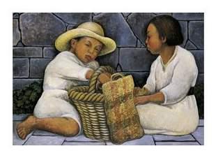 Diego Rivera Dos Ninos FRAMED Offset Lithograph