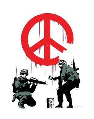 Banksy - Peace Soldiers Framed Offset Lithograph