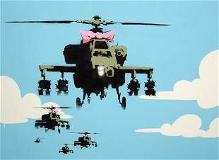 Banksy - Helicopters Framed Offset Lithograph