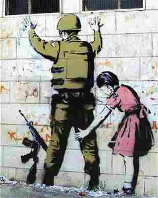 Banksy - Girl Searching Soldier Framed Offset Litho