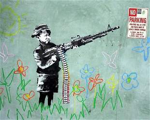 Banksy - Crayon Shooter Framed Offset Lithograph